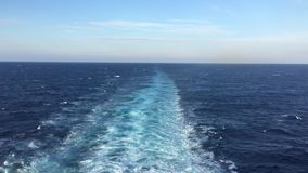 Sea water ship trail with white foamy wave. stock footage