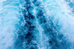 Sea water ship trail with white foamy wave. Tropical islands ferry travel. Royalty Free Stock Photography