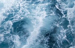 Sea water ship trail with white foamy wave. Tropical islands ferry travel Stock Photography