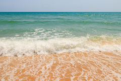 Sea water sky and sand Stock Images