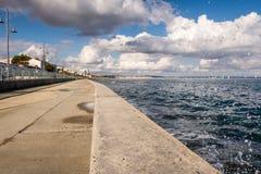 Sea water splashing - Cyprus. Sea water splashing on the Piale Pasa promenade in Larnaca, Cyprus royalty free stock image