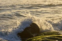 Sea water splashing over the stones Royalty Free Stock Photography