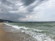 Grey storms over black sea Stock Photos