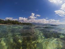 Sea water and sunny blue sky double landscape photo. Tropical seaside banner. Stock Image