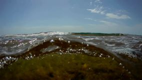 Sea water surface. Water surface of the Caspian Sea near the shore stock video footage
