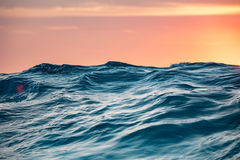 Sea water surface and wave in beautiful sunset light Royalty Free Stock Photo