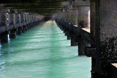 Sea Water under Bridge. Under surface of bridge on sea at Bhet Dwarka off Dwaraka Coast in Gujarath, India, Asia royalty free stock photos