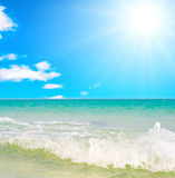 Sea water waves. Under the sky Royalty Free Stock Photos