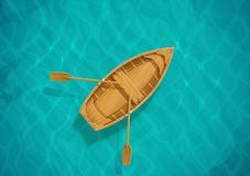 Sea water and wooden boat. Ocean surface with wave. sailing ship. Top view. Blue aqua basin. EPS10 vector illustration vector illustration