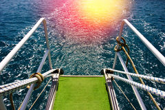 Sea water from a yacht stern Stock Image