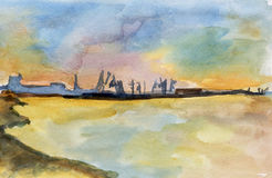 Sea watercolor Stock Photo