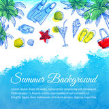 Sea watercolor background. Summer vacation. Hand drawn vector illustration Stock Photos