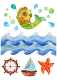 Sea watercolor background, Watercolor illustration with waves, fish and boat. Sea watercolor background, Watercolor decorative illustration with waves, fish and Stock Image