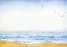 Sea. Watercolor painting Stock Image