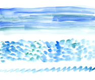 Sea watercolour bunners. Water handmade watercolour design element Royalty Free Stock Images