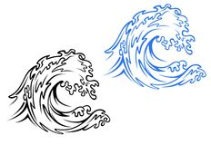 Sea wave. Big sea wave in black and blue variations in cartoon style Royalty Free Stock Images
