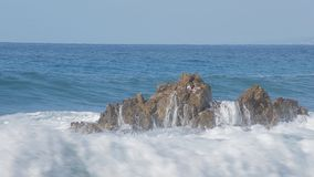 Sea wave beats on a big stone. Sunny day stock footage
