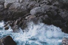 Sea wave. Beats on stones royalty free stock photos