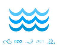 Sea Wave Blue Icons or Water Liquid Symbols Isolated Stock Images