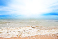 Sea wave with blue sky and cloud Royalty Free Stock Photo
