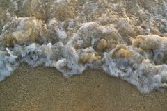 Sea wave breaking into the sand Stock Photography