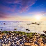 Sea wave bring seaween at sunset Stock Photo