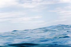 Sea wave close up, low angle view water background Royalty Free Stock Photo