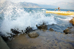 Sea wave crashing the coast of Montenegro Stock Photography