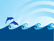 Sea wave and dolphin on blue background Royalty Free Stock Images