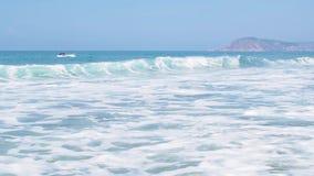 Sea wave foam on beach. Exotic paradise beach. Peaceful ocean wave at beach. Tropical beach resort for relax. Ocean wave. Sea shore waves stock footage