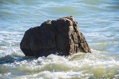 Sea wave foam and rocks on the beach in Estepona, Andalucia, Spain. Peaceful ocean waves at beach.  stock photos