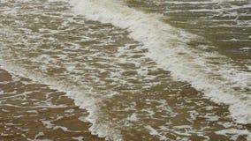Sea wave foam washing beach on sunny summer day stock video footage