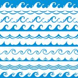 Sea wave frame. Seamless ocean storm tide waves wavy river blue water splash design elements horizontal borders vector