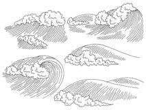 Sea wave graphic surf black white seascape sketch set illustration vector. Sea wave graphic surf black white seascape sketch set illustration royalty free illustration