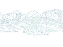 Sea wave graphic surf blue color seamless pattern background sketch illustration vector stock illustration