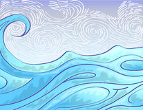 Sea wave in hand draw Royalty Free Stock Image