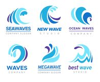 Sea wave logo. Ocean storm tide waves wavy river blue water splash design emblems labels vector isolated collection vector illustration