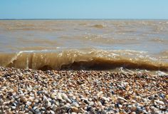Sea wave with medical clay and shelly beach Stock Photo