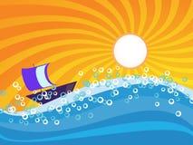 Sea wave with orange sunburst sky Royalty Free Stock Photography