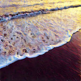Sea wave over sand beach digital illustration. Sunset at seaside. Stock Photo