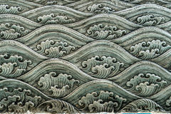 Sea wave pattern art. Thai`s style Sea wave pattern on silver plate art Royalty Free Stock Images