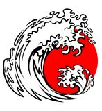 Sea wave and red sun Stock Photos