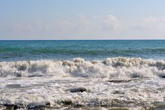 Sea wave rolled ashore Royalty Free Stock Photo