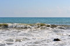 Sea wave rolled ashore Royalty Free Stock Images