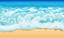 Sea wave and sand beach. Illustration in vector format stock illustration