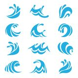 Sea wave set. Ocean storm tide waves wavy river water design line elements vector isolated collection. Sea wave set. Ocean blue storm tide waves wavy river water royalty free illustration