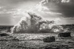 Sea, Wave, Sky, Black And White Stock Images