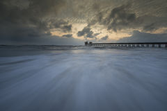 The sea. Wave sky cloud sea pier stock photos