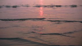Sea wave during the sunset. The sea wave at the beach with sunset light reflection on the water during the golden hour in the evening stock footage