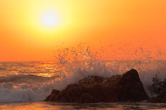 Sea wave on sunset Stock Image